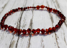 Baltic Amber Baby Necklace POLISHED CARAMEL Pop Clasp Anti-Inflammatory Teeth