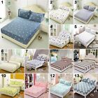 3 Sizes New Flora Color Fitted Sheet Twin Full Queen King Bed Cover Pillowcases image