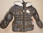 NEW Hello Kitti Girl Black Hooded Faux Fur Jacket/ Coat Sz 5 Silver/Gold Print