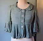 Allihop Anthropolgie XS peplum knit jacket blazer cropped sage green EUC $98
