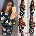 Party Cocktail Short Mini Dress Long Sleeve Floral Bodycon Slim Dress Sexy Women