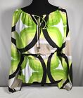 Micael Kors NWOT Smoked Waist Peasant Tie Blouse Shirt Green Black Tan Sz M