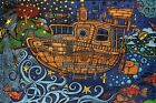 3D TAPESTRY-STEAM PUNK TUG BOAT-100% COTTON-60X90 WALL HANGING-3D GLASSES INCL
