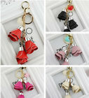 Fashion Leather Rose Flower Pendant Keyring Car Keychain Women Bag Accessories