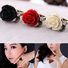 JZ_ Fashion New Cute Rhinestone Crystal Rose Flowers Adjustable Rings Ring Gif