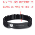Men Medical Alert ID Name Tag Spring Stretch Bracelet Bangle DIY Free Engraving <br/> Diabetes EPILEPSY Blood Thinner COPD Autism Stainless
