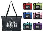 Monogrammed Name Personalized Zipper Tote Roomy Beach Travel Gift Overnight Bag
