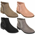 Ladies Chelsea Boots Womens Suede Look Shoes Ankle Studs Low Heel Biker Fashion