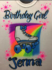 Airbrush Roller Skate Shirt w/ Name Airbrushed Birthday Girl 80s 90s Retro Party