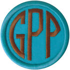 Embroidered Circle Font Name Initial Monogram Iron On Patch Teal Blue Fabric