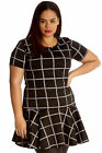 New Womens Tunic Plus Size Ladies Dress Check Box Print Peplum Style Top Flared