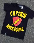 Six Bunnies Captain Awesome Tee Kids Shirt Cool Lightning Awesome Gift Fun Black