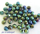 50 Exquisite Green Iris Faceted Glass Beads 6MM