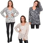Womens Long Cardigan Sequin Knit Ladies Oversized Baggy Loose Button Sweater Top