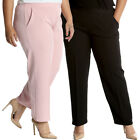 New Womens Plus Size Trousers Ladies Pants Self Stripe Pockets Formal Sale Long