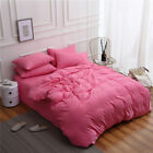 4Pcs Solid Color Bedding Set Duvet Cover Flat/Fitted Sheet Pillowcase