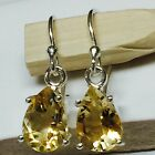 Genuine 2.5ct Golden Citrine 925 Solid Sterling Silver Dangle Pear Earrings 22mm