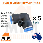 5 x Push in Air Fitting Equal Union Elbow Pneumatic Systems PU PE Tube Pack 5Pc