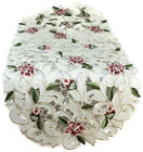 Table Runner, Doily, Mantel Scarf with Light Pink Cutwork Roses and Leaves