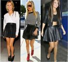 Womens Skater Skirt PU Ladies Retro Fashion Wetlook Elastic Skirt PVC