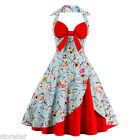 Womens Dress Vintage 50s Rockabilly Pinup Hepburn Halter Swing Party US Stock