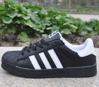 UK Mens Womens Casual Leather Lace Up Flats Sneaker Stripe Running Trainer Shoes