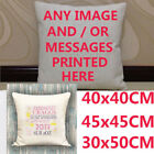 Personalised Custom Printed Square Cushion Cover Image Photo Text Design Gift UK