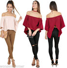 T-Shirt Off-the-Shoulder Burgundy Women Pagoda Sleeve Tops Loose Blouse US
