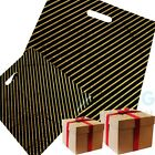 Black and Gold Striped Gift Shop Boutique Market Plastic Carrier Bags 7.5X10