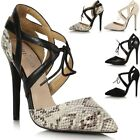 Ladies Womens High Stiletto Heel Pointed Toe Lace Up Sandals Court Shoes