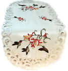 Table Runner, Doily, Mantel Scarf with Hummingbirds and Flowers on Ivory Fabric