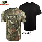 New 2 PK Mossy Oak Camouflage & Black or Prairie Color Moisture Wicking T-Shirt