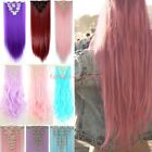light pink purple hair - 100% Real Full Head 8 piece Clip in on Hair Extensions 18Clips Pink Purple Red