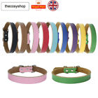 Real Leather Dog Puppy Collar Tan Pink Black Red In 9 Colours 5 sizes UK SELLER