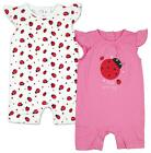Girls PACK OF 2 Little Love Bug Ladybird Rompers Tiny Prem Baby to 18 Months
