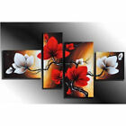 Red Flower 4 Frame Oil Painting Landscape Wall Art Canvas Home Decor Living Room