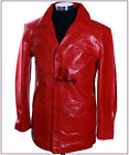 Fight Club Red Men's Smart Real Cowhide Glazed Leather Movie Film Blazer Jacket