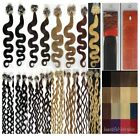 "20"" Easy Loops Micro Rings Tipped Remy Human Hair Extensions Curly Wavy 100S 50g"
