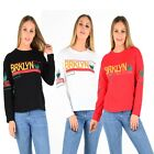 """New Women's Ladies Slogan """"BRKLYN"""" Print on Front & Arms Cotton Sweat-Shirts Top"""