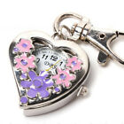 Heart Shape Quartz Watch Flowers Pocket Watches Stainless Steel Key Ring Calm