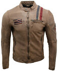 Men's Retro Café Racer Oak Brown Leather Striped Biker Jacket