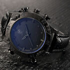 SHARK Mens LED Digtial Analog Wrist Watch Dual Time Sport Army Black Leather