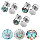 Stainless Steel Fake Barbell Ear Stretcher Plugs Rubber Round Piercing Set 6Pcs