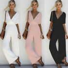 NEW Women V Neck Loose Tunic Playsuit Party Romper Short Sleeve Long Jumpsuit
