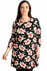 New Womens Plus Size Top Ladies Floral Print Swing Style Tunic Summer Round Neck