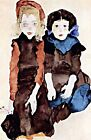 Children by Austrian Painter Egon Schiele. Giclee Fine Art Print Canvas or Paper