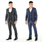 Wessi Mens Vintage 3 Piece Suit Blazer Waistcoat Trousers Checkered Coat Stylish