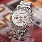 Geneva Women Watches Girl's Crystal Stainless Steel Lady Quartz Analog Silver