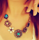 Vintage Bronze Crystal Flower Choker Necklace, Collar - UK Seller