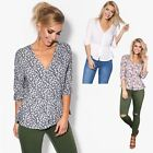Women Boho Floral Buttoned Shirt Ladies Stretch Waist Smock Blouse V Neck Top
